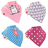 Zippy Bird and Cat Bandana Dribble Bibs, 4 pack, one size