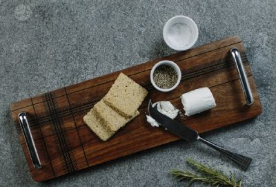 Just Slate Highland Sheesham Wood Wooden Serving Tray with Handles
