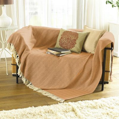 Country Club Opus Herringbone Throw 127 x 152cm, Burnt Orange