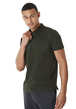 F&F Button Down Collar Textured Short Sleeve Polo Shirt - Forest green