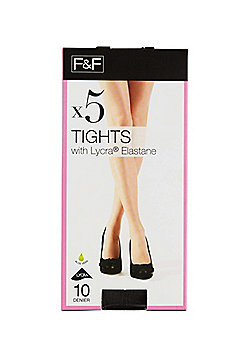 F&F 5 Pack of 10 Denier Tights - Barely black