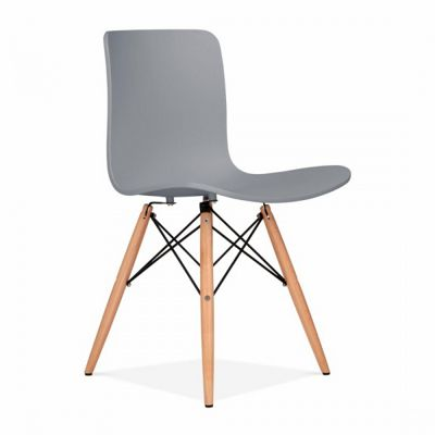 Eames Inspired Berlin Dining Chair With Eiffel Wood Legs   Cool Grey