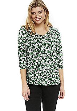 Evans Floral Print Plus Size Top - Green
