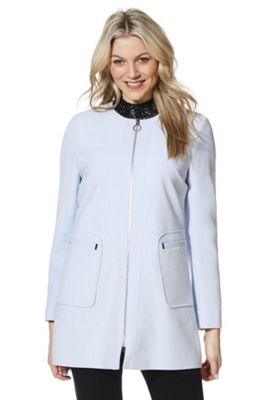 F&F Collarless Formal Coat Blue 8