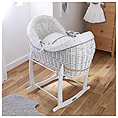 Lullyaby Hearts Crossover Moses Basket Pod, Grey & White