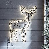 Geometric Reindeer with Warm White Micro Lights