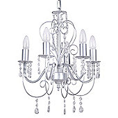 Lille Five Way Ceiling Light Chandelier, Silver