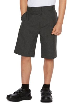 F&F School 2 Pack of Boys Flat Front Shorts 6-7 years Grey