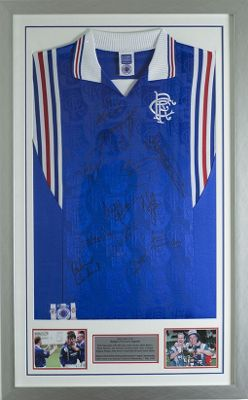 Signed Rangers 9 In A Row League Championship Wins Legends shirt