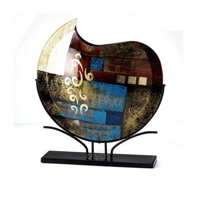 Delphia Glass Art Round Vase Brown/Blue/Multi-Colour