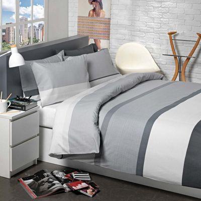 Homescapes Grey Monochrome White Horizontal Thick Stripe Duvet Cover Set, Double