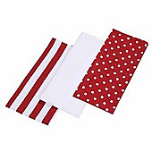 Homescapes Cotton Polka Dot Red White Tea Towels Set Of Three