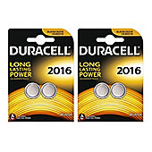 4 x Duracell CR2016 3v Lithium Coin Cell Button Battery 2016 DL2016 BR2016