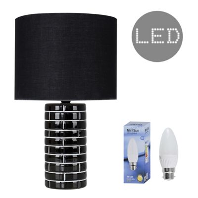 Hallett 40cm Tiled Effect LED Table Lamp - Black & Black