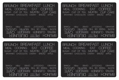 Galzone Set of 4 Placemats Black Text
