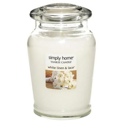 Yankee Candle Jar White Linen & Lace, Medium