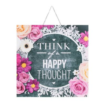 Art for Home Chalkboard Happy Thoughts Canvas