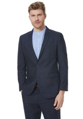 F&F Linen-Blend Regular Fit Suit Jacket Indigo 52 Chest long length