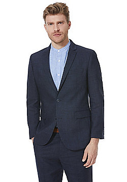 F&F Linen-Blend Regular Fit Suit Jacket - Indigo