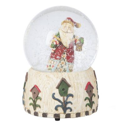Santa With Lantern Musical Snow Globe