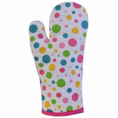 Homescapes Cotton Polka Dot Multi Colour Oven Glove