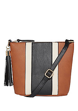 F&F Colour Block Cross-Body Bucket Bag