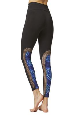 CoolMesh Curved Back Panel Aztec Print Gym Leggings Black 4X