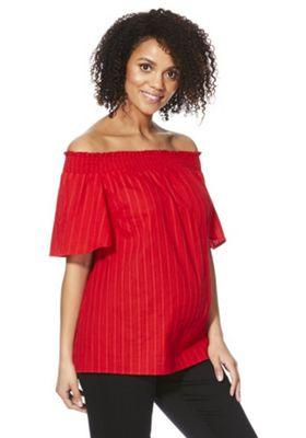 F&F Textured Stripe Maternity Bardot Top Red 6