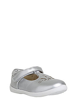 F&F My First Shoes Metallic Laser-Cut T-Bar Shoes - Silver