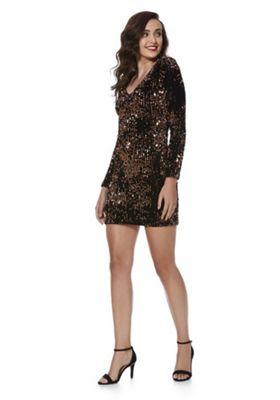 Only Sequin Velour Bodycon Dress XS Bronze
