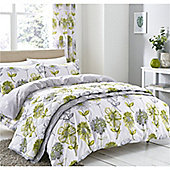 Catherine Lansfield Banbury Floral Eyelet Curtains - Green