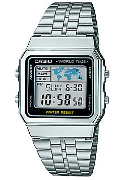 Casio Collection Mens Silver Stainless Steel World Time Watch A500WEA-1EF