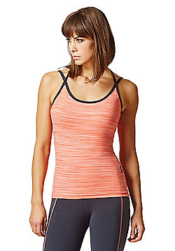 6a0db5c653066 Yoga Triple Back Strap Fitted Vest Coral Space-Cream - Coral