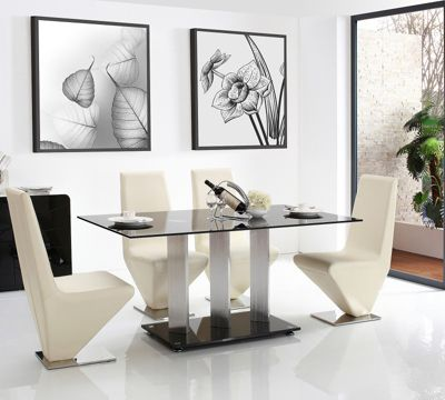 Vienna Black Glass 160 cm Dining Table with 6 Ivory Rita Chairs