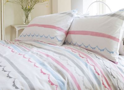 Pink Scallop Single Bedding - 100% Cotton