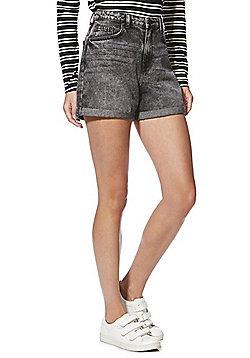 Noisy May Straight Denim Shorts - Washed black