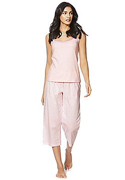F&F Lace Trim Cami and Cropped Bottoms Pyjama Set - Pink