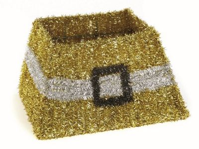 Christmas Tree Tinsel Skirt - Stand Cover - Gold - 50 x 32cm