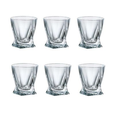 Pack of 6 Quadro Deluxe Bohemian Crystal 55ml Shot Glasses Contemporary Twisted Shaped Design