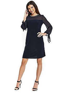 Wallis Tie Sleeve Embellished Neck Dress - Navy