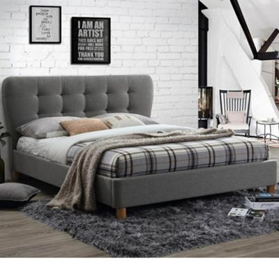 Happy Beds Stockholm Fabric Low Foot End Bed with Memory Foam Mattress - Grey - 4ft Small Double
