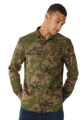 F&F Camo Print Long Sleeve Overshirt Khaki 3XL
