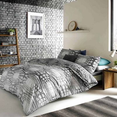 Blueprint 'Aspen' Grey Geometric Quilt Cover Set, King Size