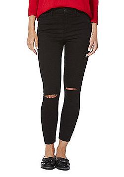 F&F Ripped Knee Skinny Ankle Grazer Jeans - Black