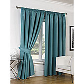 Dreamscene Luxury Faux Silk Blackout Curtains Ready Made Pencil Pleat Lined Free Tiebacks - Teal