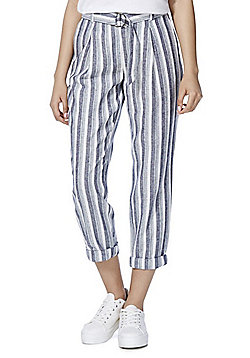 F&F Striped Linen Blend Trousers - Blue & White