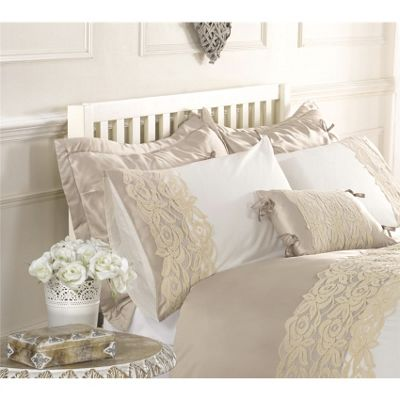 Jenna Pair of Latte Quilted Pillowshams