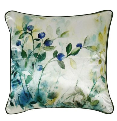 Blue Satin Floral Cushion Piped Edging Watercolor Effect Design