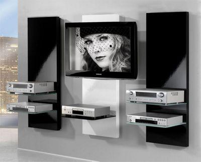 Triskom Three Panel TV Stand - All White