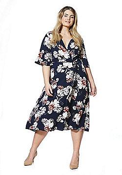 Izabel Curve Floral Print Plus Size Wrap Dress - Black Multi